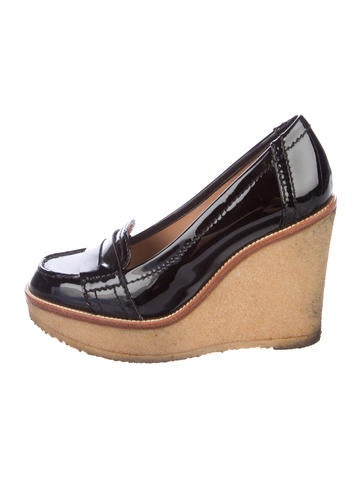 Yves Saint Laurent Patent Leather Loafer Wedges None
