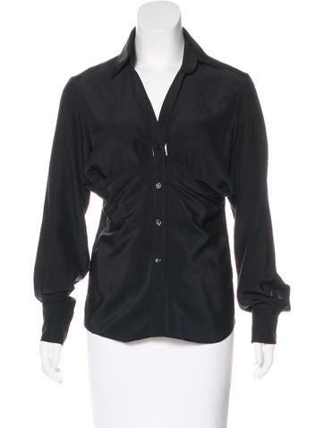 Yves Saint Laurent Draped Silk Top None