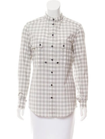 Yves Saint Laurent Plaid Button-Up Top None