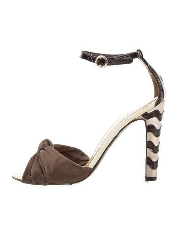 Yves Saint Laurent Satin Ankle Strap Sandals None
