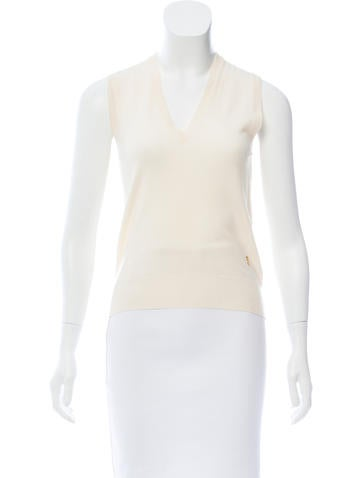 Yves Saint Laurent Sleeveless Wool Top None