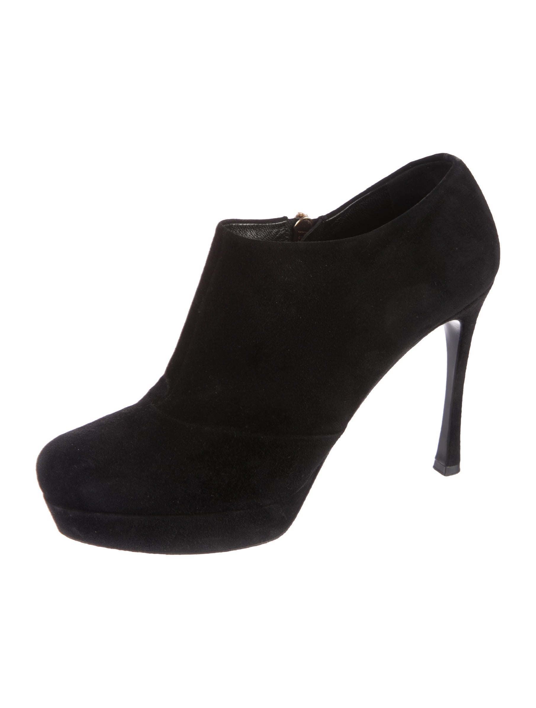 Yves Saint Laurent Leather Round-Toe Booties original sale online outlet fashionable quality free shipping 9t2r5