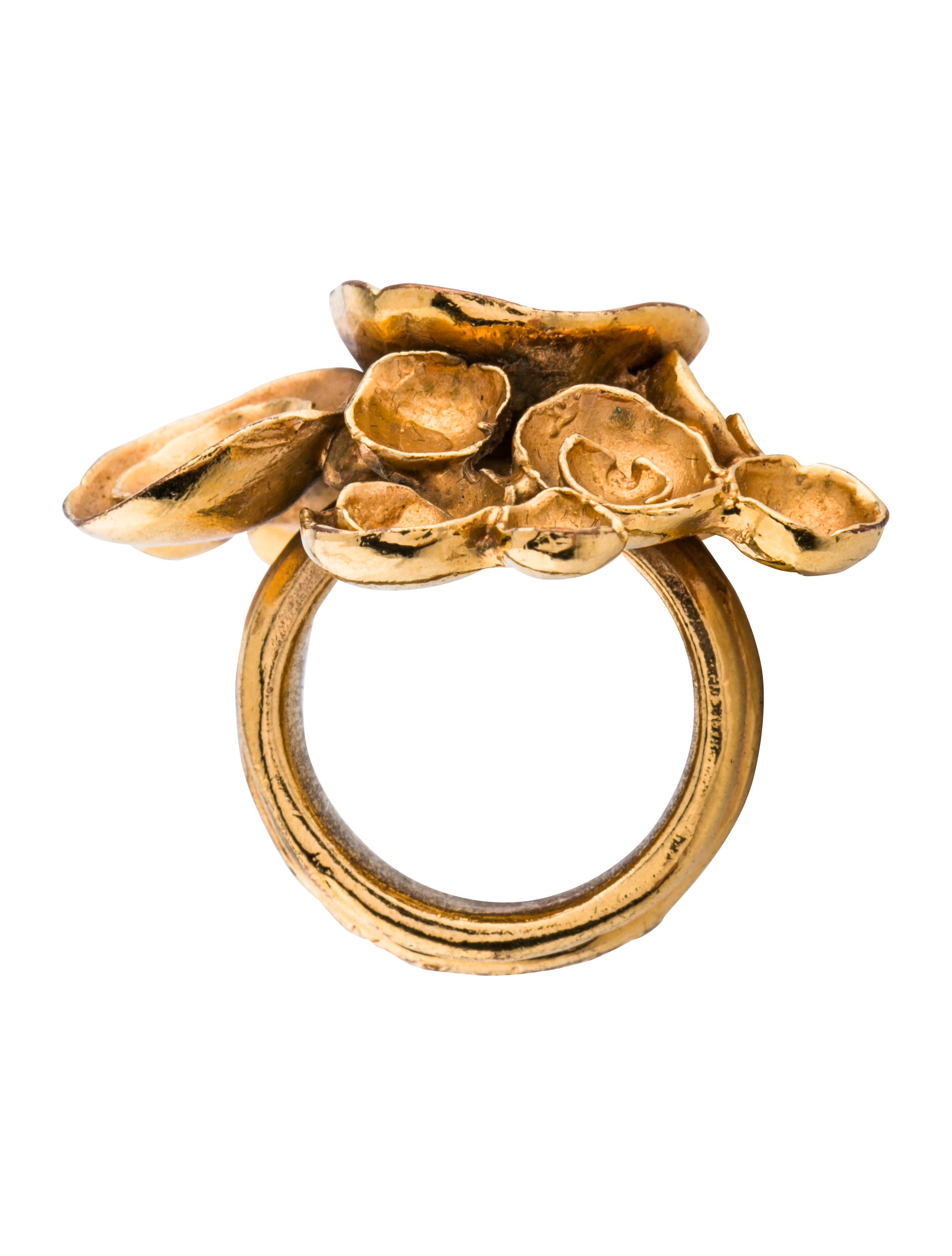 lyst saint twotone yellow honey arty laurent rings jewelry ring in product metallic gallery engagement