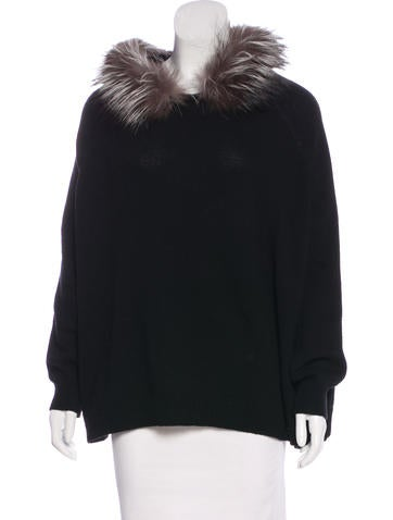 Yves Saint Laurent Fur-Trimmed Wool Sweater None
