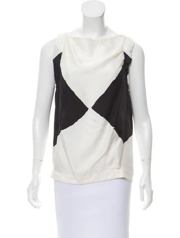 Yves Saint Laurent Geometric Silk Top None
