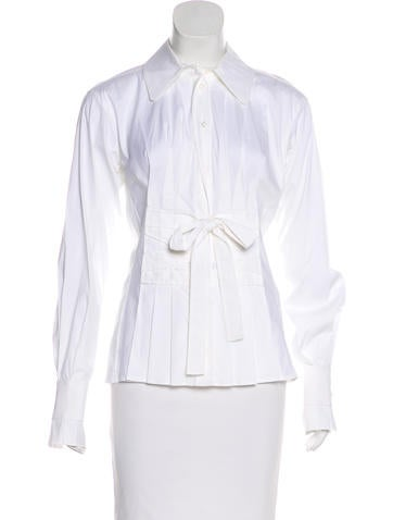 Yves Saint Laurent Bow Button-Up Top None