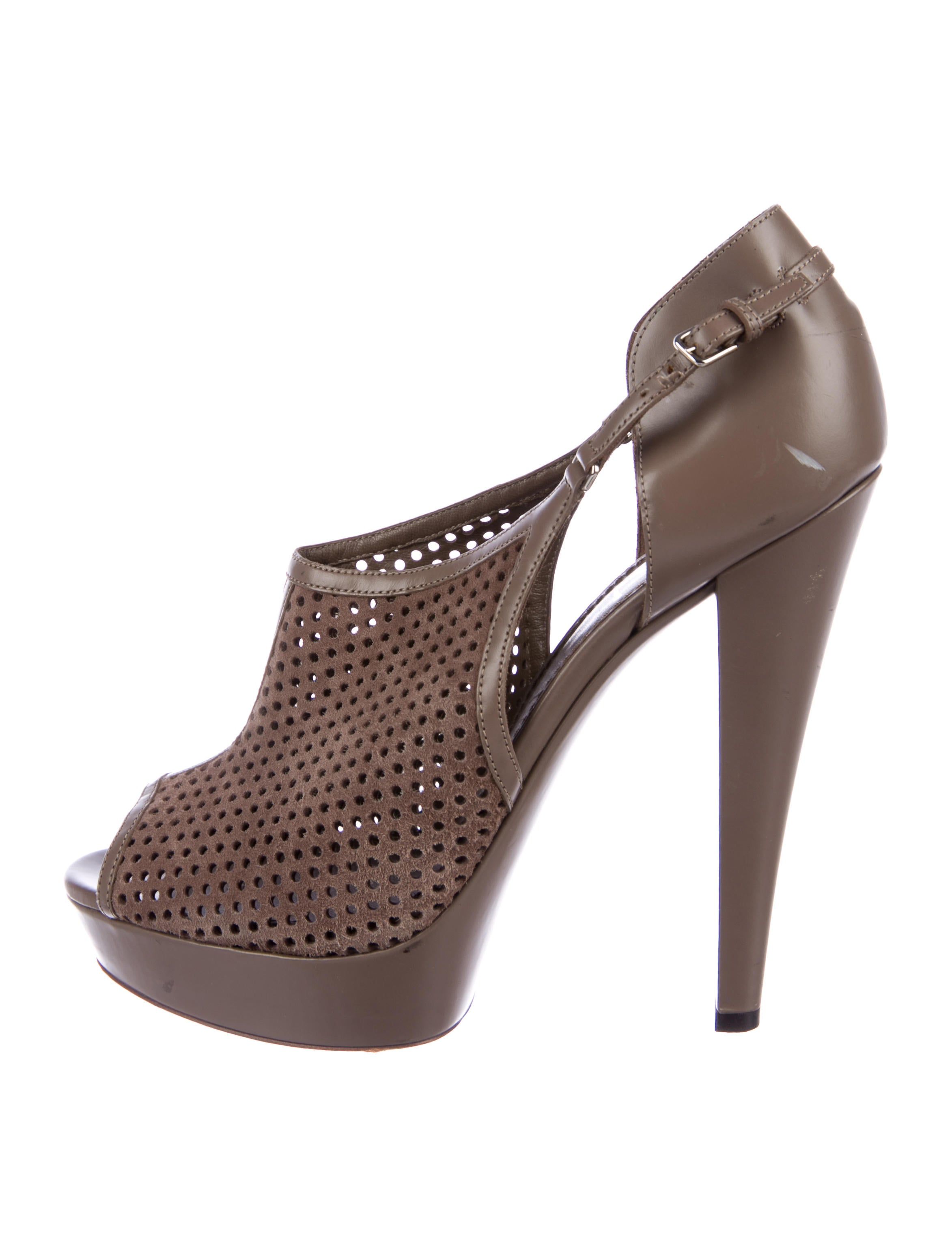 buy cheap low shipping Yves Saint Laurent Perforated Peep-Toe Booties cheap prices reliable cheap 2015 new free shipping wiki OZVHX