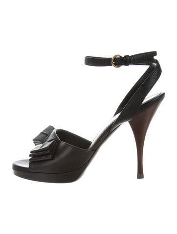 Yves Saint Laurent Bow-Accented Ankle Strap Sandals on hot sale outlet with paypal free shipping with mastercard z9m0P4