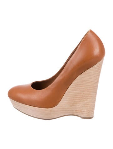 Yves Saint Laurent Leather Round-Toe Wedges None