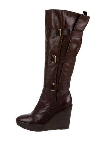 Yves Saint Laurent Leather Wedge Boots None