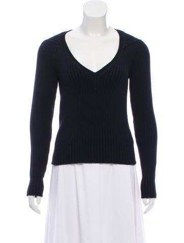 Yves Saint Laurent Rib Knit V-Neck Sweater None