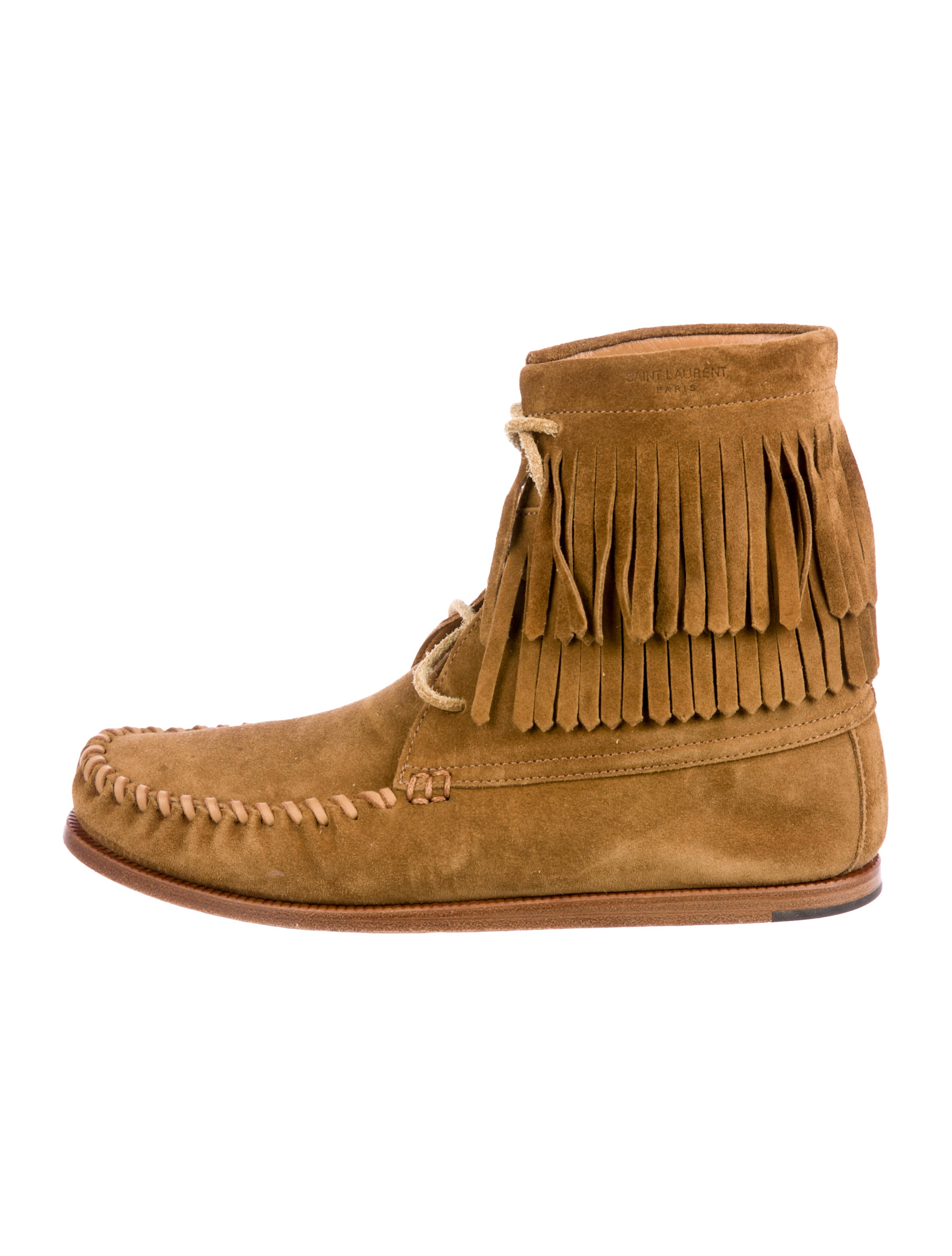 Saint Laurent Fringe-Trimmed Moccasin Boots sale sale online sale under $60 01FTm8Ehk