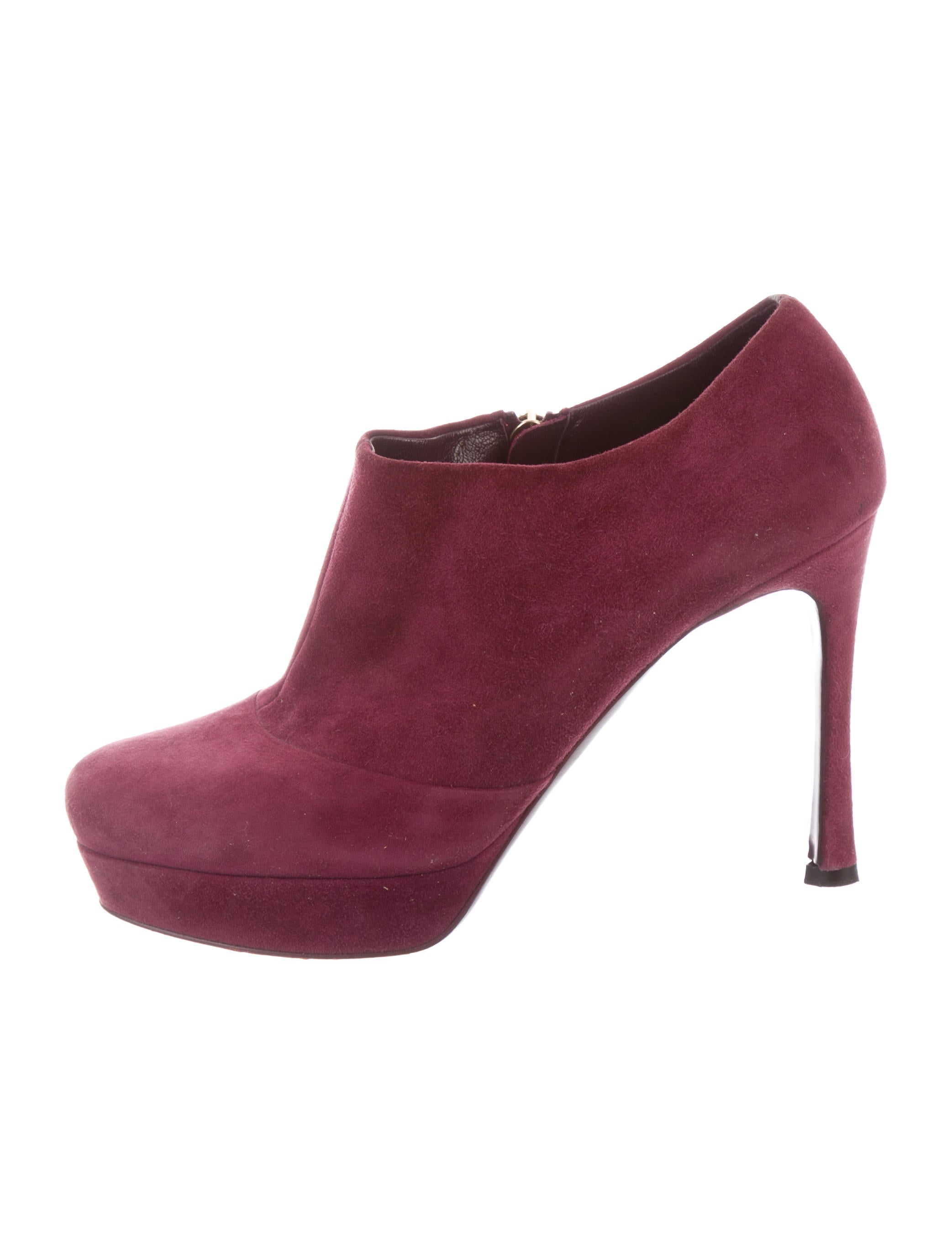 Yves Saint Laurent Suede Round-Toe Booties cheap sale 2014 unisex 2014 newest online UQZonkD7bF