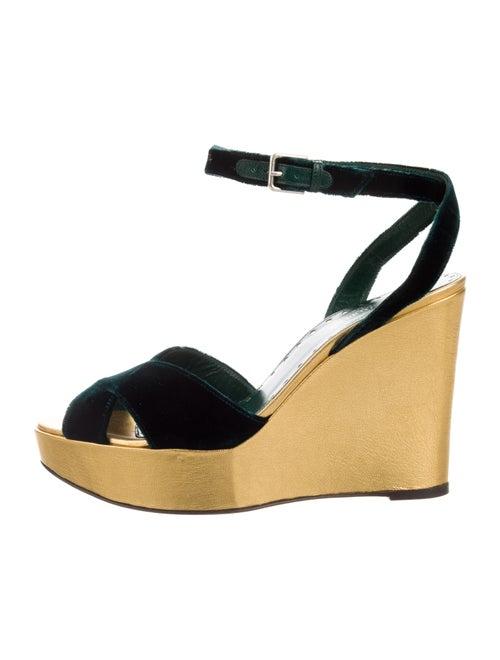 954693c2eb9 Yves Saint Laurent Velvet Platform Wedge Sandals - Shoes - YVE98106 ...