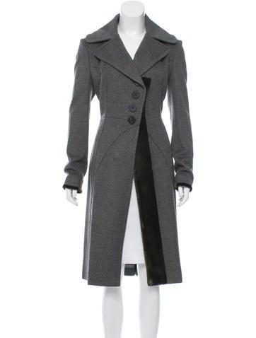 Zac Posen Wool Velvet-Trimmed Coat w/ Tags None