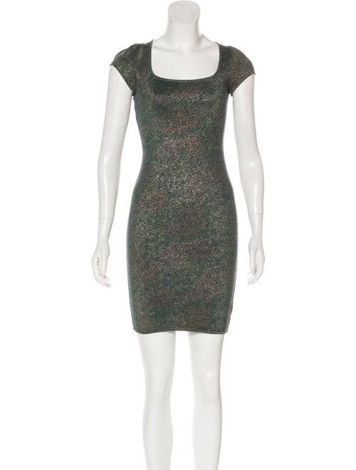 Zac Posen Metallic Mini Dress Green