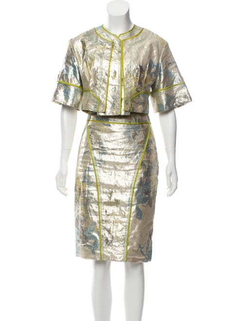 Zac Posen Metallic Knee-Length Skirt Set Metallic