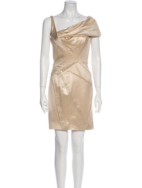 Zac Posen Asymmetrical Mini Dress Metallic