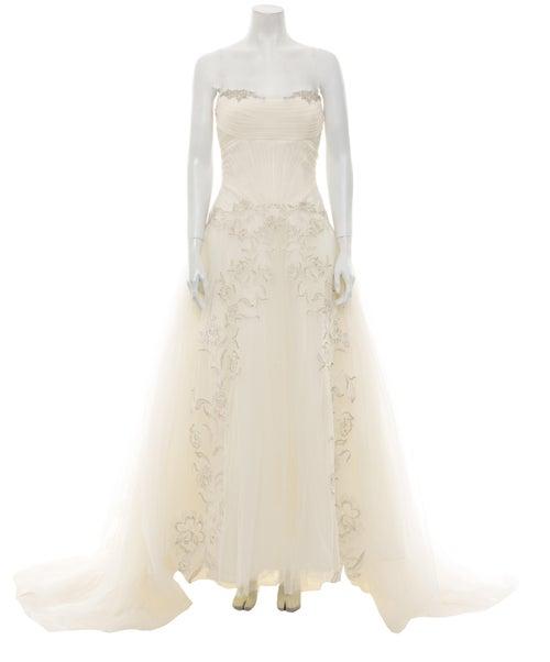 Zac Posen Strapless Long Dress White