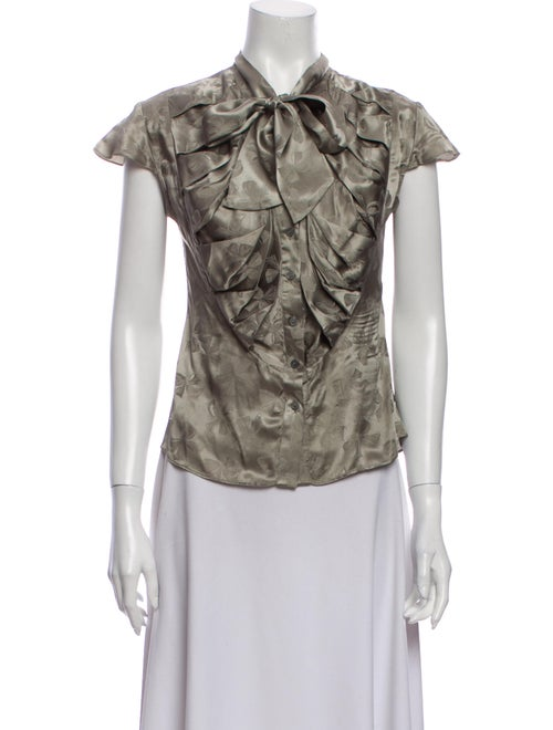 Zac Posen Silk Floral Print Button-Up Top Grey