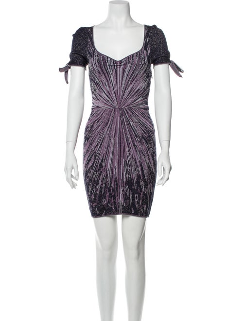 Zac Posen Printed Mini Dress Metallic
