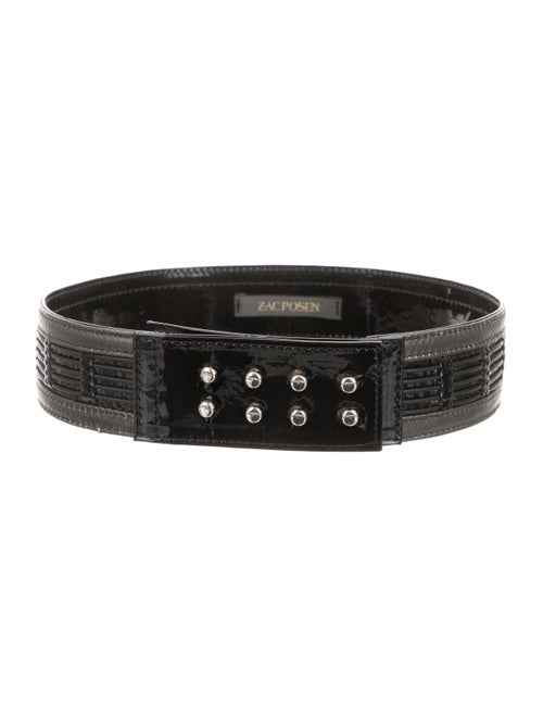 Zac Posen Patent Leather Waist Belt Black