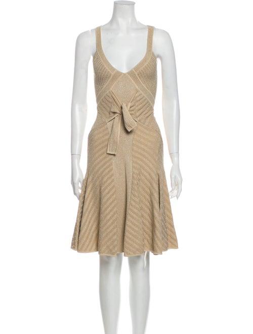 Zac Posen V-Neck Knee-Length Dress Metallic