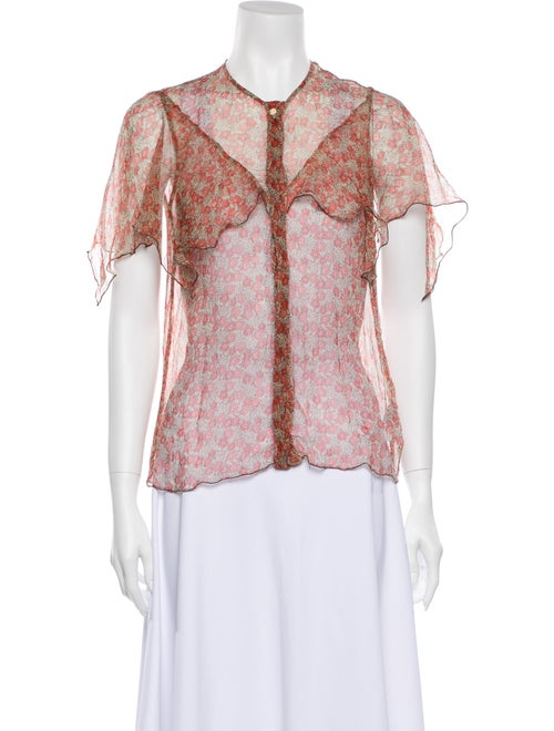 Zadig & Voltaire Silk Floral Print Button-Up Top R