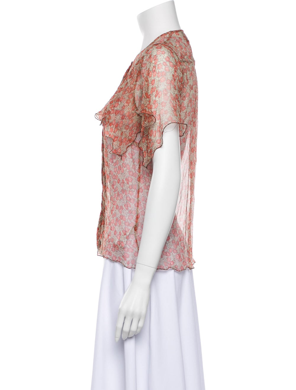 Zadig & Voltaire Silk Floral Print Button-Up Top … - image 2