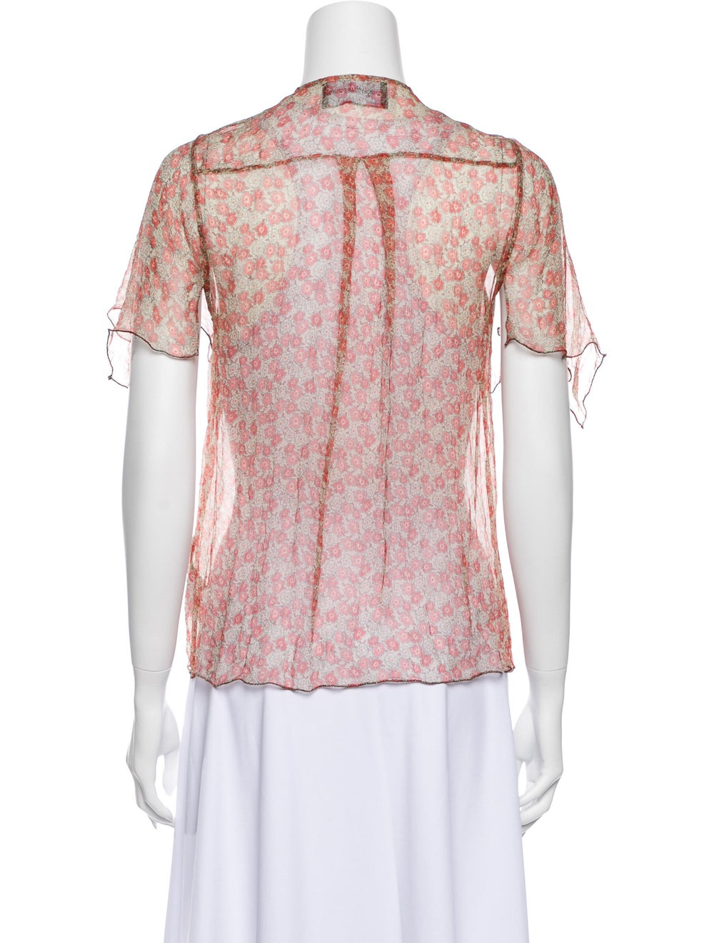 Zadig & Voltaire Silk Floral Print Button-Up Top … - image 3