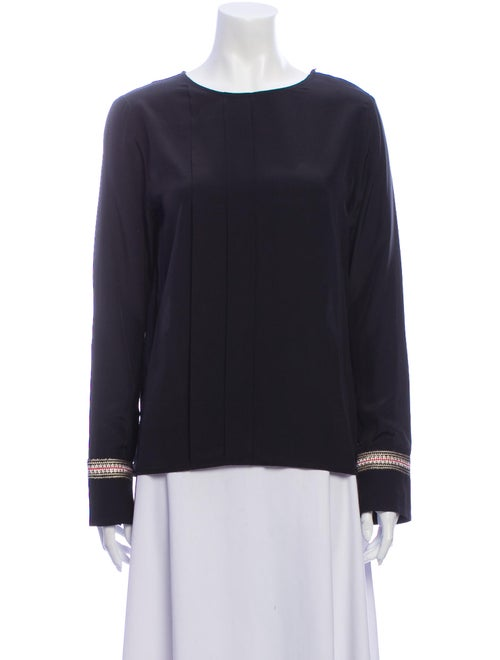 Zeus + Dione Silk Scoop Neck Sweatshirt Black