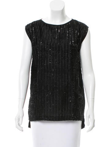 Zero + Maria Cornejo Sleeveless Fringe-Trimmed Top None