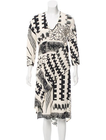 Zero + Maria Cornejo Asymmetrical Printed Dress None