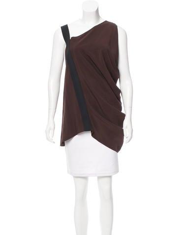 Zero + Maria Cornejo Asymmetrical Silk Top None