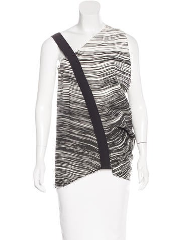 Zero + Maria Cornejo Asymmetrical Printed Top None