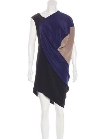 Zero + Maria Cornejo Draped Colorblock Dress None