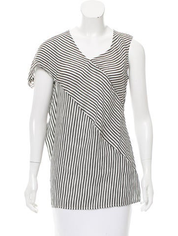 Zero + Maria Cornejo Striped Asymmetrical Top None