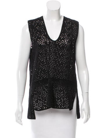 Zero + Maria Cornejo Sleeveless Embroidered Top None