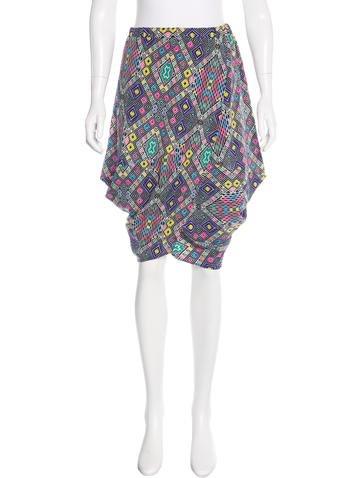 Zero + Maria Cornejo Silk Geometric Print Skirt None