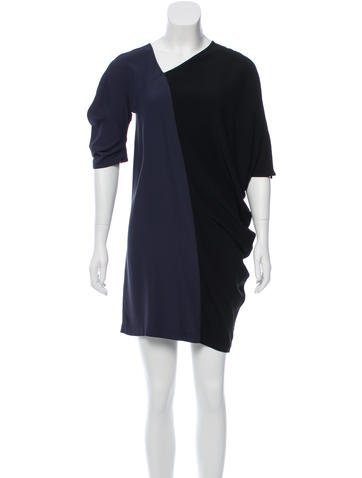 Zero + Maria Cornejo Colorblock Asymmetrical Neck Dress None