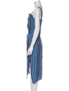 Zero + Maria Cornejo Striped Midi Length Dress