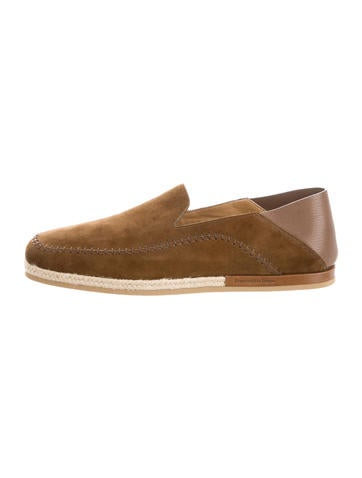 Suede Round-Toe Espadrilles w/ Tags