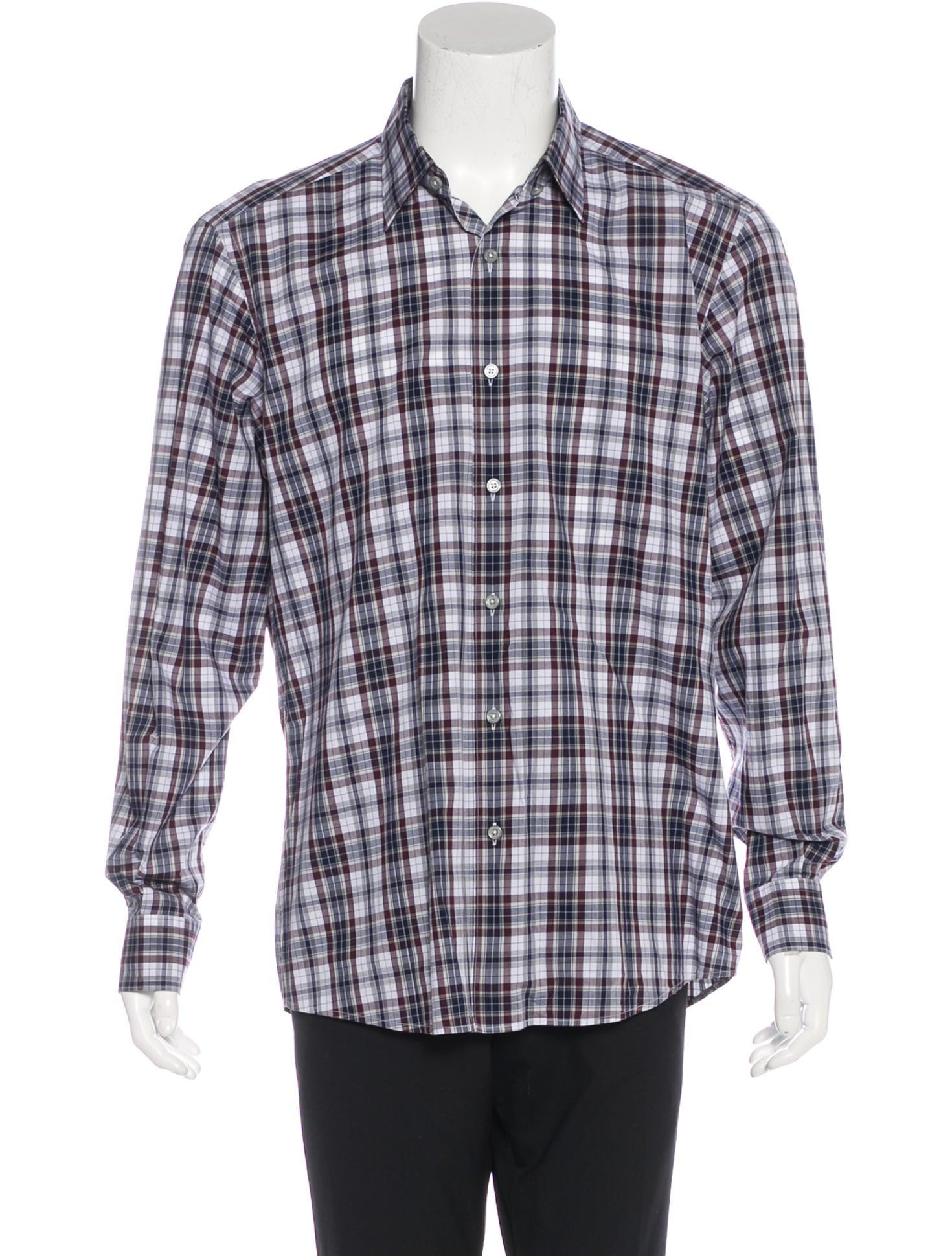 ermenegildo zegna plaid woven shirt clothing zgn24558 the realreal. Black Bedroom Furniture Sets. Home Design Ideas