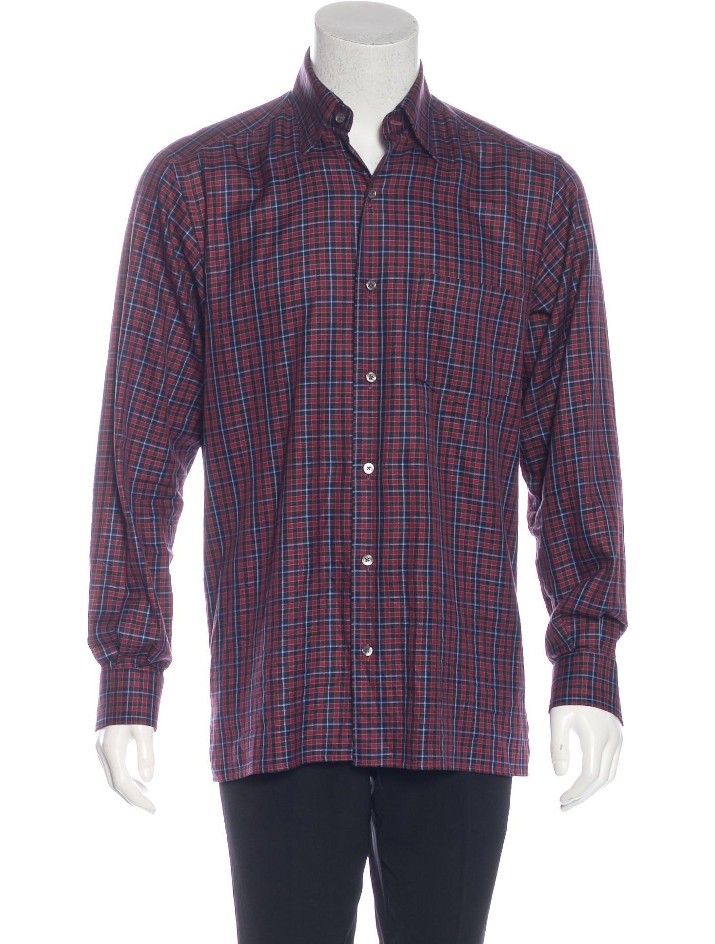 ermenegildo zegna plaid button up shirt clothing zgn24846 the realreal. Black Bedroom Furniture Sets. Home Design Ideas