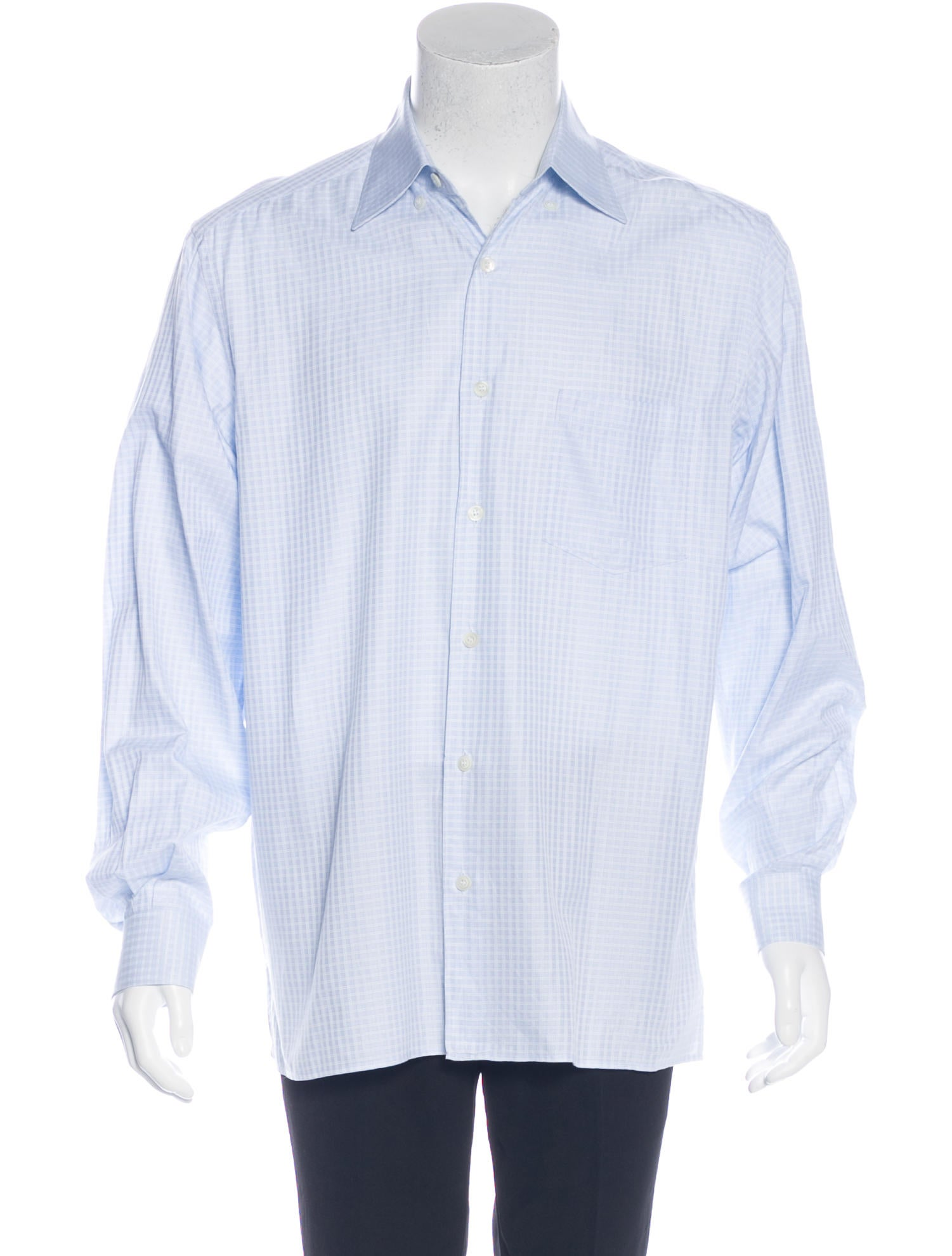 ermenegildo zegna plaid woven shirt clothing zgn24893 the realreal. Black Bedroom Furniture Sets. Home Design Ideas