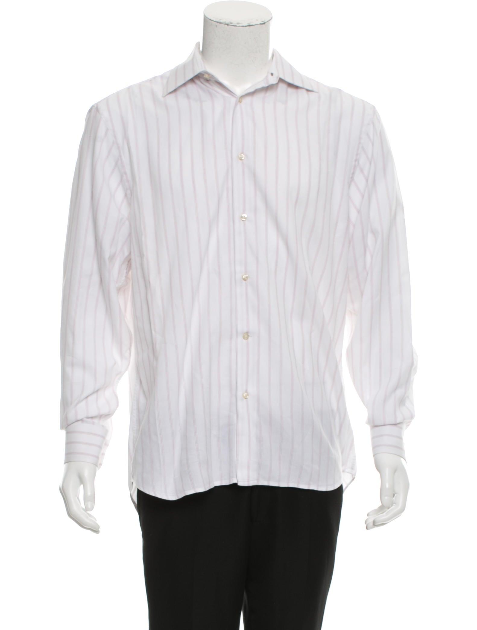 Ermenegildo zegna striped button down shirt mens shirts for Red and white striped button down shirt