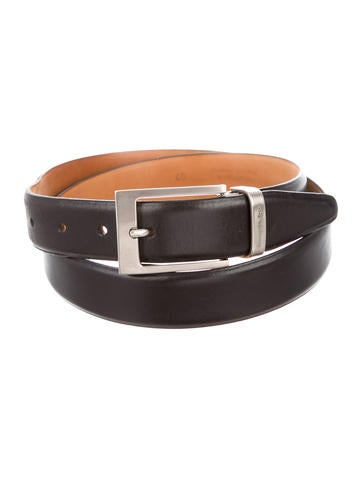 Silver-Tone Buckle Leather Belt
