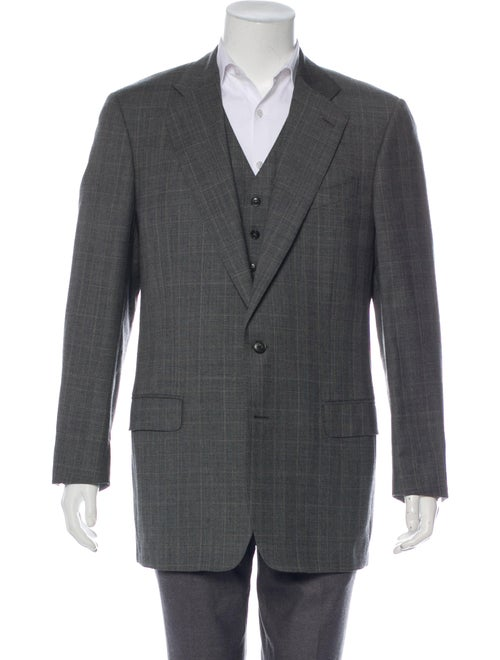 Ermenegildo Zegna Wool Plaid Two-Piece Set grey