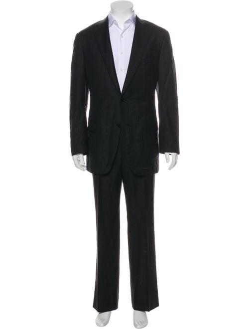 Ermenegildo Zegna Silk Striped Two-Piece Suit Blac
