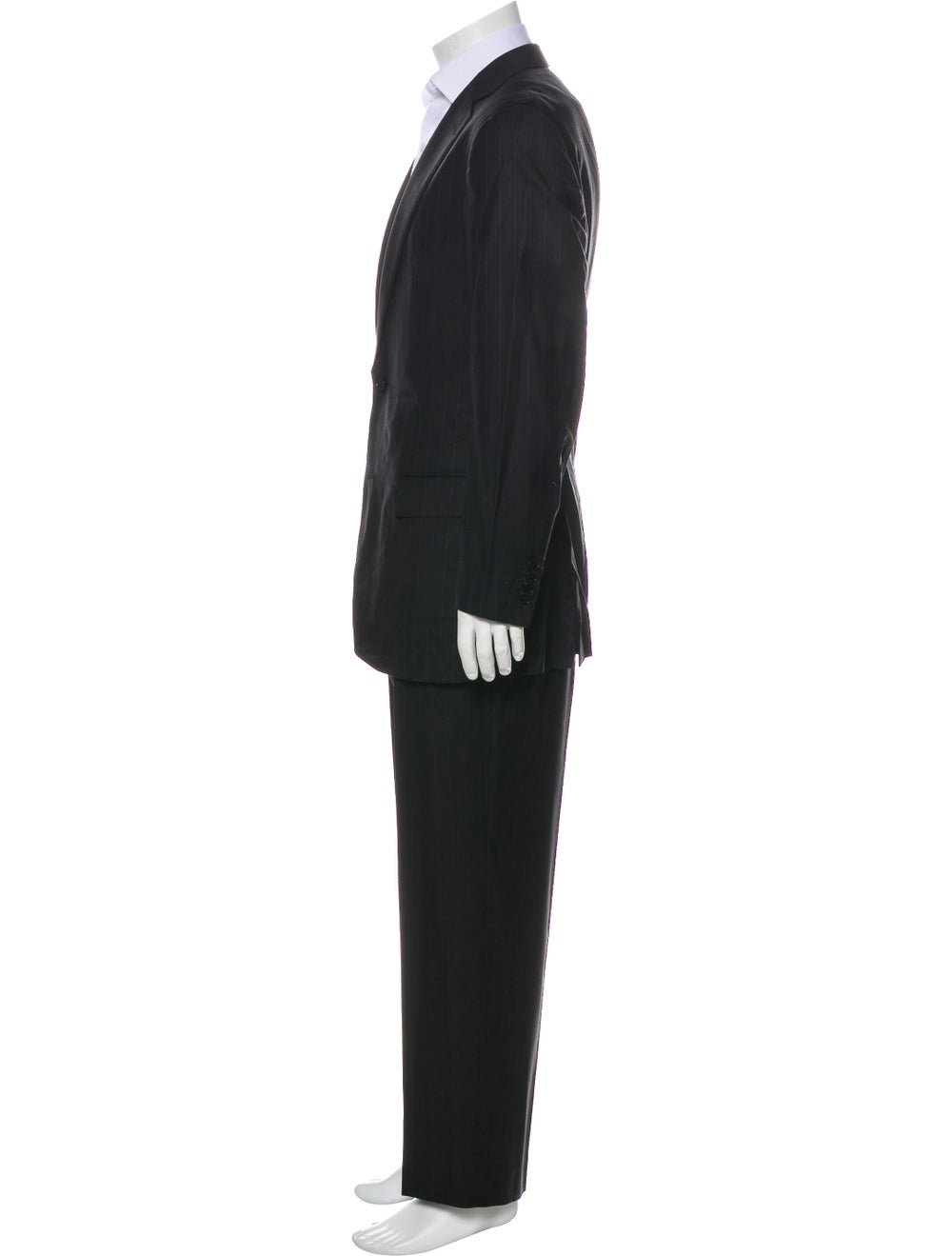 Ermenegildo Zegna Silk Striped Two-Piece Suit Bla… - image 2